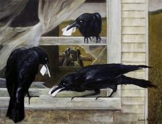 """Awesome!!  """"Messenger Ravens"""" carrying little scraps of paper.... by Andrea Kowch"""