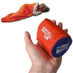 Minimal shelter to carry in your day pack in case a day hike unintentionally becomes an overnighter, $16. Reflects up to 90% of your body's heat back to you. Bright orange exterior is easy to spot, even in bad weather. Measures 84 in. x 36 in. and is sized to shelter 1 adult. Waterproof, windproof material is seam taped for complete protection from the elements. Made in the USA. THIS GOT GREAT REVIEWS. #MrBowerbird
