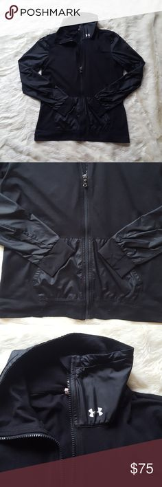 Under Armour Black Jacket This and the white UA jacket were my go to. This is def preloved, but has lots of life left! Features 2 pockets. Hugs and is loose in all the right places. There is a small hole as shown in pic 6 on the right arm and hole near armpit on the left side as shown in last pic. Under Armour Jackets & Coats
