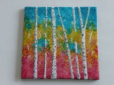 Hand Painted Alcohol Ink on 6x6 Ceramic Tile - Birch trees via Etsy