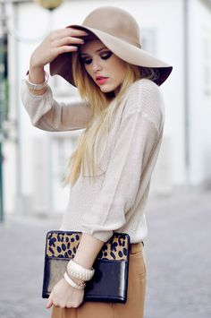 Blouse, hat, clutch