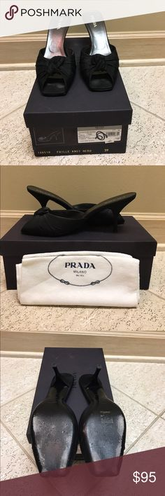 Prada shoes Prada faille knot heels in black. Only worn a couple of time! Comes with original box and dust bag! Prada Shoes Heels