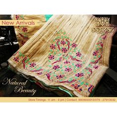Hand embroidered tusser silk saree  by Aagman