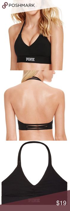 PINK black halter sports bra all black large Brand new in package. Also have pink, grey, and purple available in large PINK Victoria's Secret Intimates & Sleepwear Bras