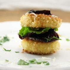 Fried Goat Cheese and Beet Stacks ... high maintenance but adorable hors d'oeuvres for a party