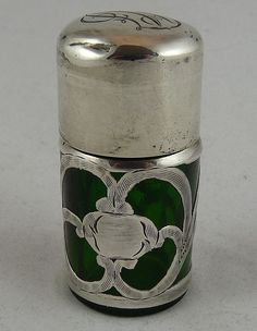 Sterling Silver Overlay Perfume or Salts Bottle Green Glass $225