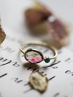 Watermelon Slice Ring | Dainty and chic oval shaped watermelon tourmaline ring featuring a turquoise stone. Set in 14k gold. *By Dream Collective for Free People