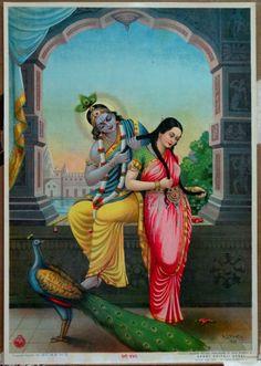 Radha Krishna Veni Bandhan Details about Vintage Large Ravi Varma Lithograph Print Radha Krishna Pictures, Krishna Images, Phoenix, Radha Krishna Love, Lord Krishna, Krishna Leela, Shiva, Lazuli, Lord Vishnu Wallpapers