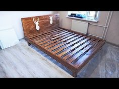 DIY wooden bed (bars and furniture board) Bed Bar, Diy Bett, Furniture Board, Wooden Diy, Bath Caddy, Sweet Home, Kids Rugs, Storage, Home Decor