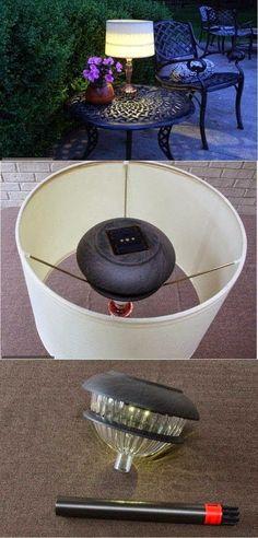 DIY Outdoor Solar Table Lamp. Love this idea!!!