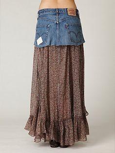 FP ONE Mini Denim Print Maxi Skirt