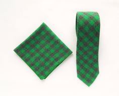 Green plaid tie pocket square wedding tie gift for men green plaid tie groomsmen uk by TheStyleHubTrends on Etsy