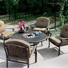 Darlee Elisabeth 4-person Cast Aluminum Deep Seating Patio Conversation Set With Ice Bucket Insert - Antique Bronze by Darlee. $2289.00. Relax more comfortably with polyester seat cushions. Cast aluminum construction promotes rust resistance. Antique bronze powder coating is tougher than conventional paint finishes. Lightweight aluminum frame makes rearranging your furniture easy. Set Includes: Conversation Table, 4 Lounge Chairs, Brown Polyester Cushions. Darle...