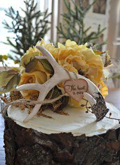 Buck rack-gold-birthday cake topper-wedding-cake topper-antlers-deer horns-deer wedding-rustic-hunting-hunter-bride groom-decor-camouflage