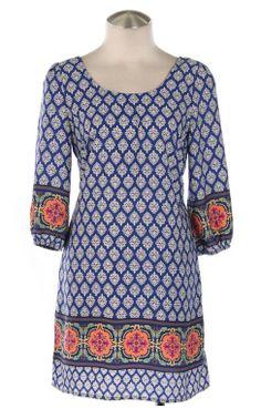 multi patterned boho dress - royal