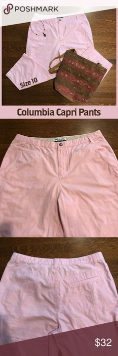 """🆕 ✅ Columbia Capri Pants These Columbia capris will quickly become your favorite summer pants! They are in EUC and just waiting to be a part of your wardrobe.   Inseam measurement: 20 3/4""""   From a smoke-free and happy-to-bundle closet.   The purse and necklace are available in separate listings.    No trades or transactions outside of Poshmark.  [T226] Columbia Pants Capris"""