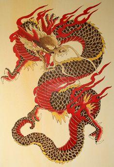 Resultado de imagem para textile red gold ryu pattern japan