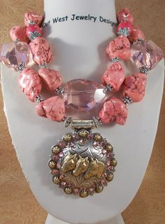 Cowgirl Necklace Set  Chunky Stawberry Pink Turquoise with a Triple Horse concho Pendant by Out West Jewelry Designs