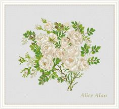 Bouquet of white rose Counted Cross Stitch Pattern / от HallStitch