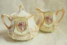 Antique RS Prussia Large Cream Lidded Sugar Portrait Floral Cottage Chic Vintage