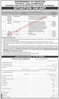 Pakistan Employment: Federal Land Commission Government of Pakistan Job...