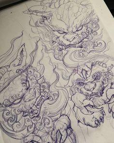 🦁🦁🦁 Artwork by: Ed Yamashita Location: Toronto ON, Canada Artist's IG: Japanese Dragon Tattoos, Japanese Tattoo Art, Japanese Tattoo Designs, Dragon Tattoo Back Piece, Dragon Sleeve Tattoos, Balinese Tattoo, Foo Dog Tattoo Design, Asian Tattoos, Arabic Tattoos