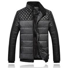Sale 23% (64.39$) - Mens Winter Velvet Plus Thickening Stand Collar Zipper Splicing Warm Cozy Padded Jacket