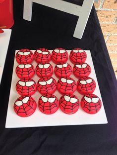Spiderman Oreos at a Superhero Party! See more party ideas at CatchMyParty.com! #partyideas #superhero