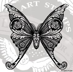 Stamp art | Artful Endearments art stamp set and Silk Moth cling art stamp ...
