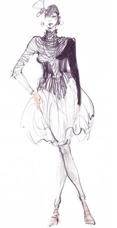 Fashion Sketch by Ioana Avram, ca. 2010, Bucharest. #FashionIllustration