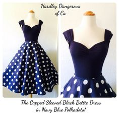 The Black Bettie Dress in Navy Blue Polkadot, Capped Sleeve Dress, Punk Rockabilly Pin Up Special Occasion Rock n Roll Halter Dress