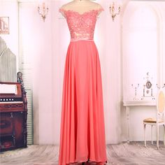 2016 New Cheap Cap Sleeves Long Coral Pink Chiffon Lace Prom Dresses Gowns, Formal Evening Dresses Gowns, Homecoming Graduation Cocktail Party Dresses Custom Plus size