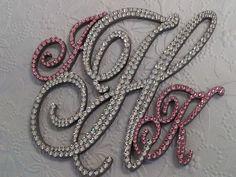 FREE SHIPPING - Swarovski Crystal Monogram Cake Topper Any Letter A B C D E F G H I J K L M N O P Q R S T U V W X Y Z. $75.00, via Etsy.