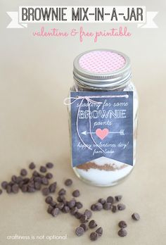 brownie mix valentine gift free printable - craftiness is not optional