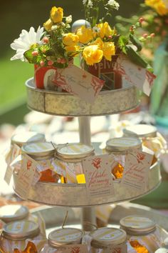 """Honey favors """"give us money, take a honey!""""   Couple cans the honey to raise money for their honeymoon!"""