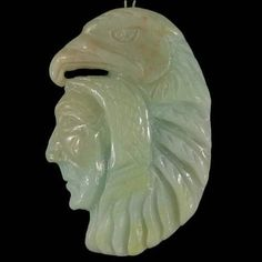BG19025# Natural Hand Carved American Indian Amazonite Pendant Bead Gemstone #Handmade #Pendant