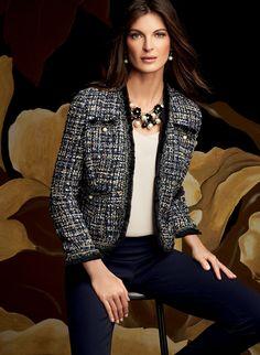 Houndstooth Print Fringe Trim Blazer : Pearl Embellished Tweed Blazer, Blue, hi-res Tweed Blazer Outfit, Blazer Outfits, Blazer Fashion, Fashion Outfits, Chanel Tweed Jacket, Chanel Style Jacket, Office Fashion, Work Fashion, Style Fashion