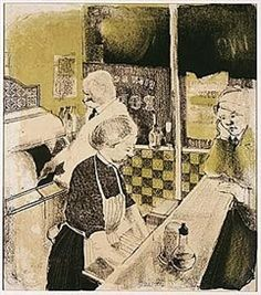 'Fish and Chip Shop' by David Hockney. This was produced by the young Hockney in 1954 as a school assignment. At the time, he was studying at the Bradford College of Art under the tutelage of Derek Stafford, who regarded Hockney as one of the most talented students he had ever taught.