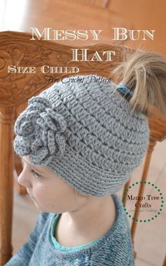 Messy Bun Hat Crochet Hat for Child
