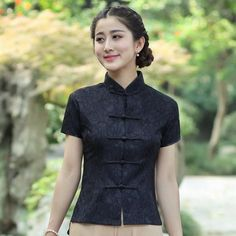 Black Cotton Classic Traditional Chinese Shirt Full of Lace for Girl - iDreamMart.com