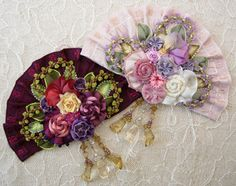 Silk Ribbon Flowers Fan Brooch - kits from Helen Gibb Ribbon Art, Ribbon Crafts, Ribbon Flower, Silk Ribbon Embroidery, Hand Embroidery, Passementerie, Silk Flowers, Fabric Roses, Arte Floral
