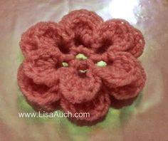 Crochet Flower Pattern (Easy 3D Crochet Flower ) | Free Crochet Patterns | Free Crochet Patterns and Designs by LisaAuch