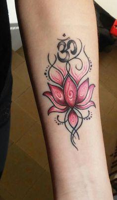 lotus and om tattoo Ribbon Tattoos, Mini Tattoos, Cute Tattoos, Beautiful Tattoos, Flower Tattoos, Shiva Tattoo Design, Henna Tattoo Designs, Forarm Tattoos, Body Art Tattoos