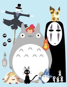 Totoro and other Studio Ghibli characters.