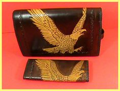 Handcrafted Leather EAGLE Shoulder Bag & Wallet Set