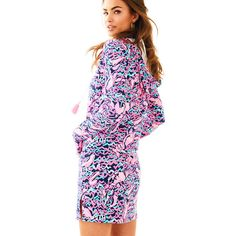 Lilly Pulitzer Lilly Pulitzer UPF 50+ Rylie Dress ($138) ❤ liked on Polyvore featuring dresses, lilly pulitzer dresses, pink dress, hooded dress and lilly pulitzer