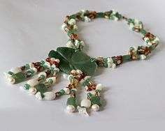 Green Nephrite Jade Stone Collar Handmade by RomanticCandle, $145.00