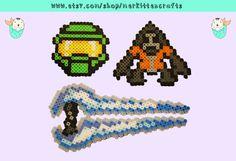 HALO Perler Beads (Master Chief - Grunt - Energy Sword) by MerkittenCrafts