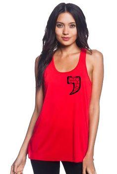 Ladies Racerback Flowy Tank (Red) Chest Logo