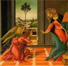 The Cestello Annunciation (Annunciazione di Castello, c1489-90) by the Early Renaissance Italian painter Sandro Botticelli (Alessandro di Mariano di Vanni Filipepi; c1445-1510). This is tempera on panel and is now held in the Galleria degli Uffizi in Florence. The picture was commissioned in 1489 by the church of the Florentine convent of Cestello which is now known as Santa Maria Maddalena de'Pazzi.